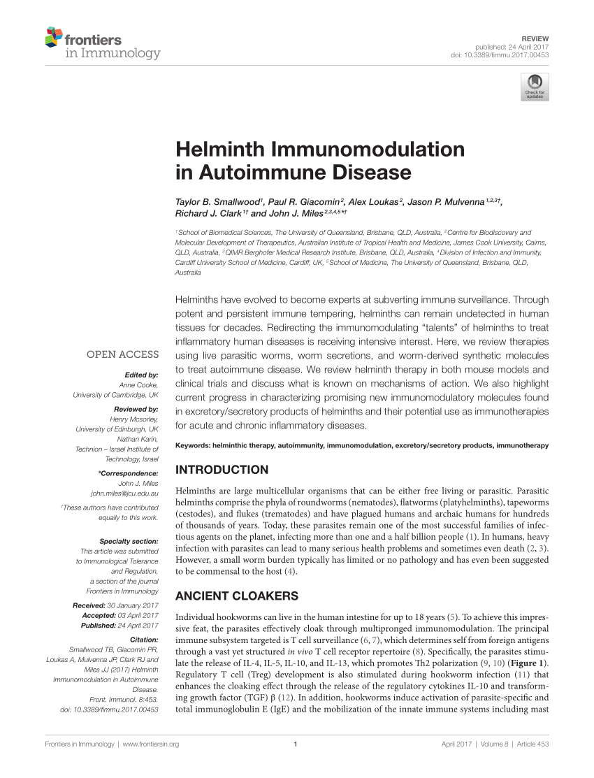Helminthic therapy for autoimmune disease.
